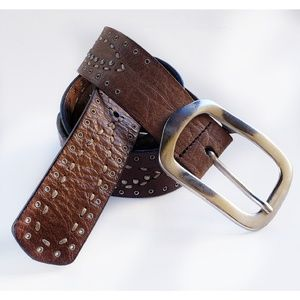 Made in Italy Brown Leather Studded Belt
